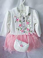 Платье детское нарядное на 1-3 года, из велюра, с сумочкой