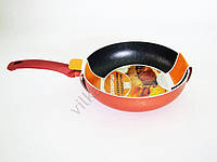 Сковорода AMY 24 см.  терракот с мрамором