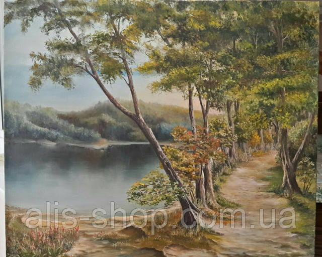 Картина маслом на холсте 50х60 Озеро в лесу