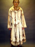 Шуба натуральная женская норковая цвета бисквит норки редкого окраса 0191