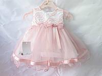 Платья детские нарядные на 6-18 месяцев с юбкой из фатина и бантом