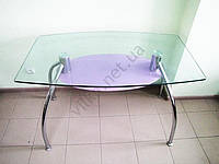Стол стекло 120 х 70 полка черная