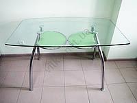 Стол стекло 1257 х 75 с зеленой полкой