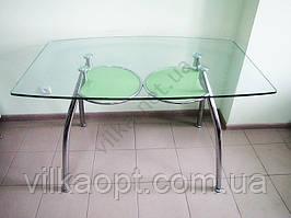 Стол стекло с зеленой полкой 125 х 75 cm; h 75 cm
