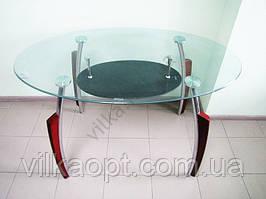 Стол стеклянный с черной полкой 120 х 70