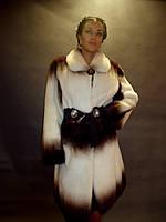 Шуба натуральная женская норковая Италия из меха двух цветов, Италия 0199