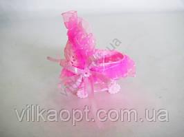 Сувенир свадебный  Коляска розовая 9 см.