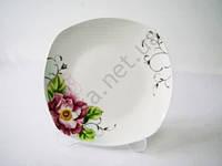 Тарелка квадратная  Роза чайная для 2-го №8 - 19 см. (12 шт. в уп.)