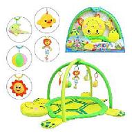 Мягкий детский коврик. Развивающий коврик Черепаха 898-12 B/0228-1 R, дуги с подвесками, 5 игрушек