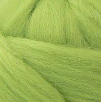Толстая, крупная пряжа 100% шерсть мериноса. Цвет: Фисташка. 21-23 мкрн. Топс.