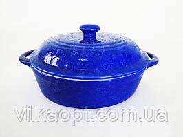 Кастрюля с крышкой синяя d 25 cm h 7 cm для СВЧ