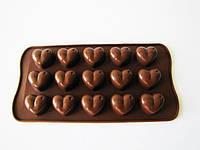 Форма силиконовая из 15-ти  Сердце  в упаковке 17862 - 20 х 11 см.