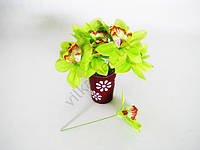 Орхидея искусственная светло-зеленая на проволке