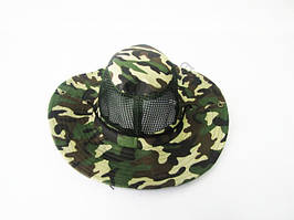 Шляпа тканевая хаки с сеткой