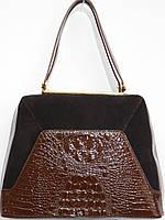 Классическая женская сумка саквояж лак с замшем кофе