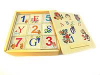 Деревянный английский алфавит с цифрами - кубики 9шт.