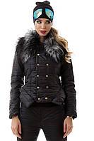 Костюм зимний женский теплый черный с мехом, куртка и штаны S M L