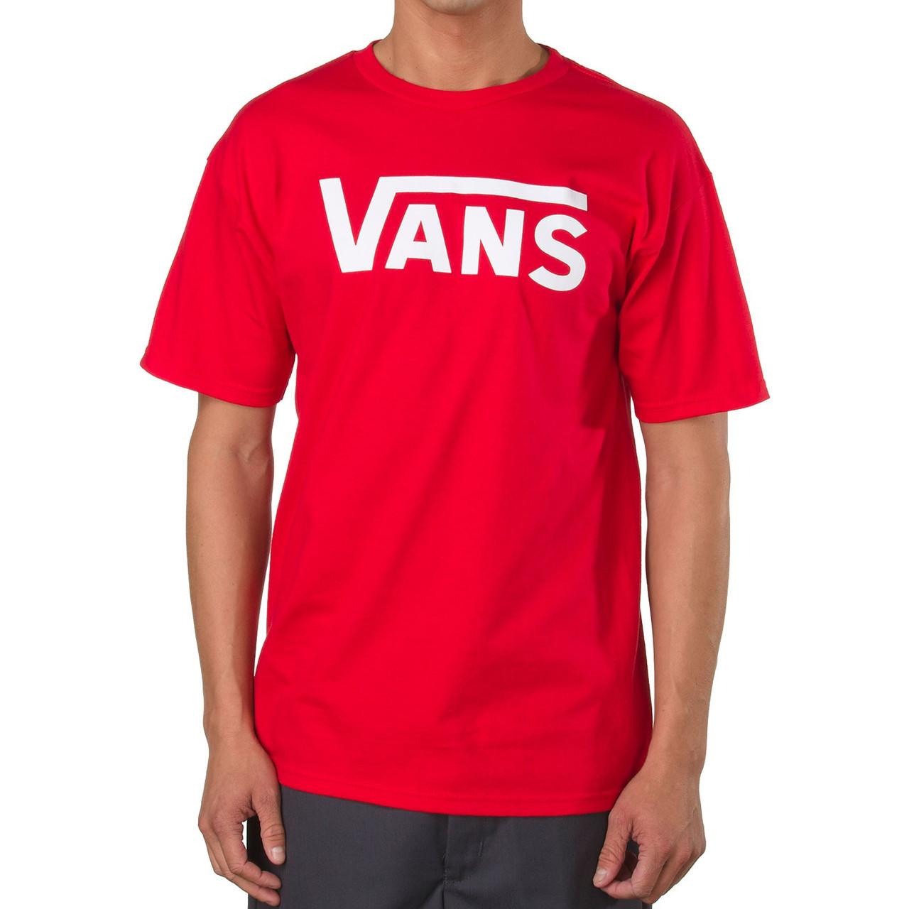Футболка с принтом Vans мужская | Красная