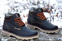 Мужские кожаные зимние ботинки черные удобные теплые (код 1020)
