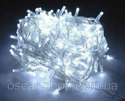 Новорічна світлодіодна гірлянда 200 LED біла 16 м для будинку і вулиці на чорному проводі