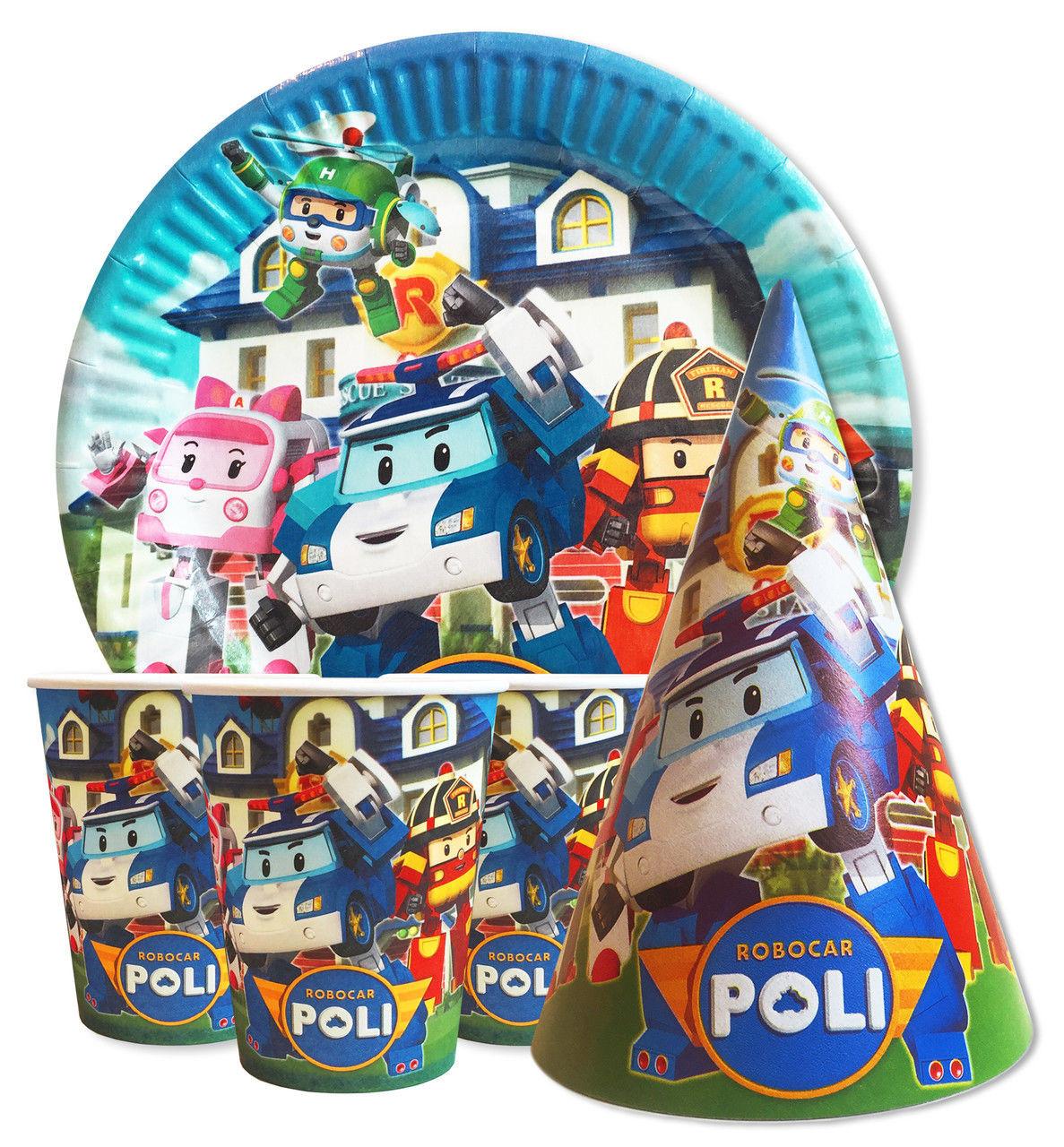 """Набір для дитячого дня народження """"Полі Робокар"""". Тарілки, стаканчики і ковпачки по 10шт."""