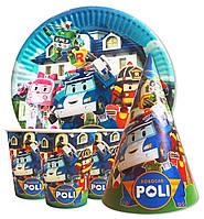 """Набор для детского дня рождения """"Поли Робокар"""". Тарелки, стаканчики и колпачки по 10шт."""