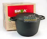 Кастрюля чугунная литая 3л с чугунной крышкой-сковородкой, посуда чугунная Биол (0203)
