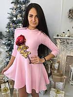 Красивое платье с розой ткань трикотаж машинная вязка цвет розовый, фото 1