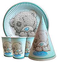 """Набор для детского дня рождения """"Мишки Тедди"""". Тарелки, стаканчики и колпачки по 10шт."""