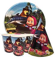 """Набор для детского дня рождения """"Маша и Медведь"""". Тарелки, стаканчики и колпачки по 10шт."""