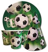 """Набор для детского дня рождения """"Футбол, Футбольный мяч"""". Тарелки, стаканчики и колпачки по 10шт."""