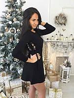 Короткое стильное платье со шнуровкой по бокам ткань трикотаж машинная вязка черное