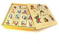 Деревянный русский алфавит с цифрами -кубики 16шт.
