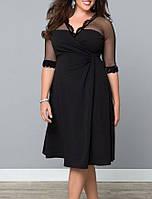 Черное Вечернее Платье по колено Размер+ с Кружевной Отделкой RP-60671к