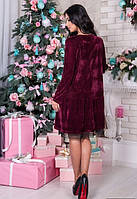 Женское бордовое велюровое платье до клена свободного кроя
