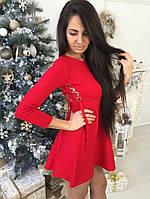 Короткое стильное платье со шнуровкой по бокам ткань трикотаж машинная вязка красное