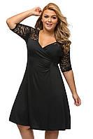 RP-61287 Черное Вечернее Кружевное Миди Платье Размер+