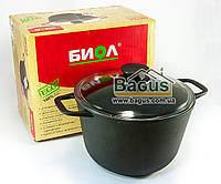 Кастрюля чугунная литая 4л со стеклянной крышкой, чугунная посуда Биол (0204С)