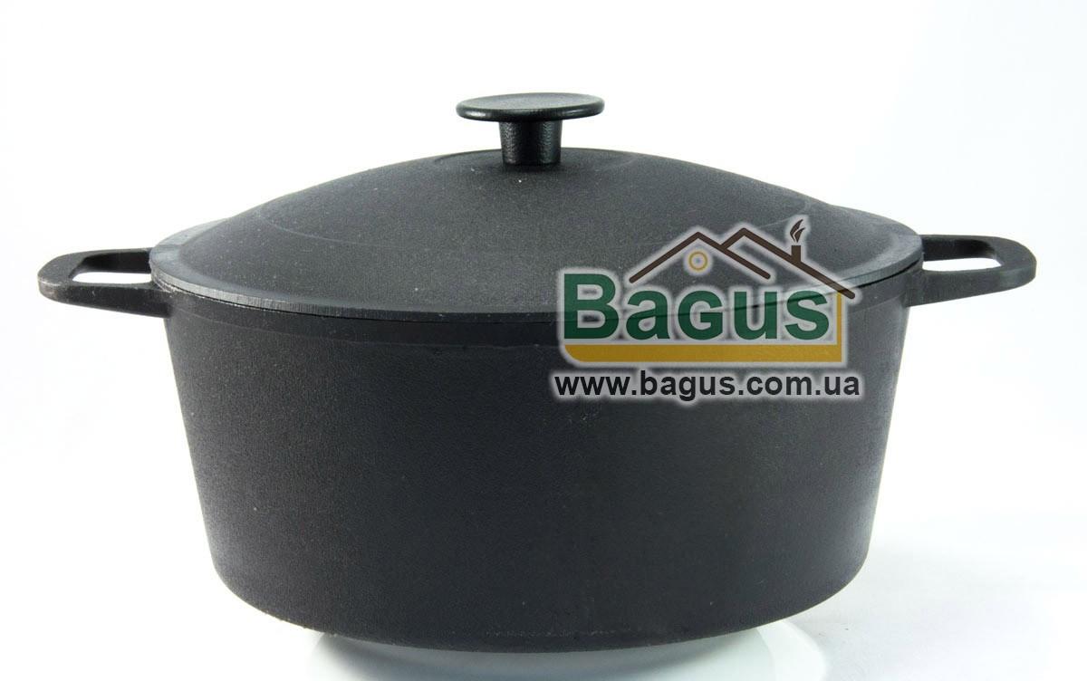Кастрюля чугунная литая 5л с чугунной крышкой, посуда чугунная Биол (0805)