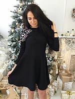Платье клеш с камнями на плече ткань трикотаж машинная вязка черное