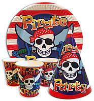 """Набор для детского дня рождения """"Пираты"""". Тарелки, стаканчики и колпачки по 10шт."""