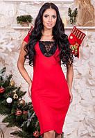 Женское красное платье без рукав с гипюром приталенное