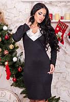 Женское черное платья по фигуре с кружевом