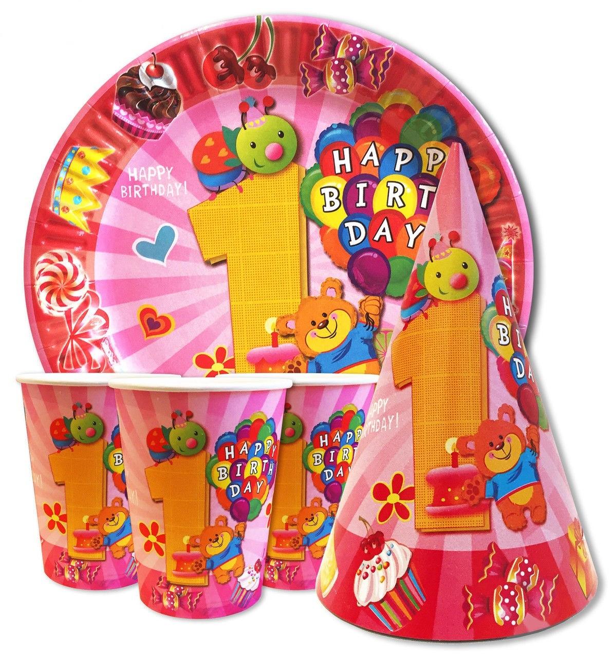 """Набор для Дня рождения """"Первый годик девочки"""". Тарелки, стаканы, колпачки по 10шт."""