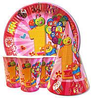 """Набор для детского дня рождения """"Первый годик для девочки"""". Тарелки, стаканчики и колпачки по 10шт."""