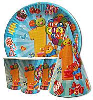 """Набор для детского дня рождения """"Первый годик для мальчика"""". Тарелки, стаканчики и колпачки по 10шт."""