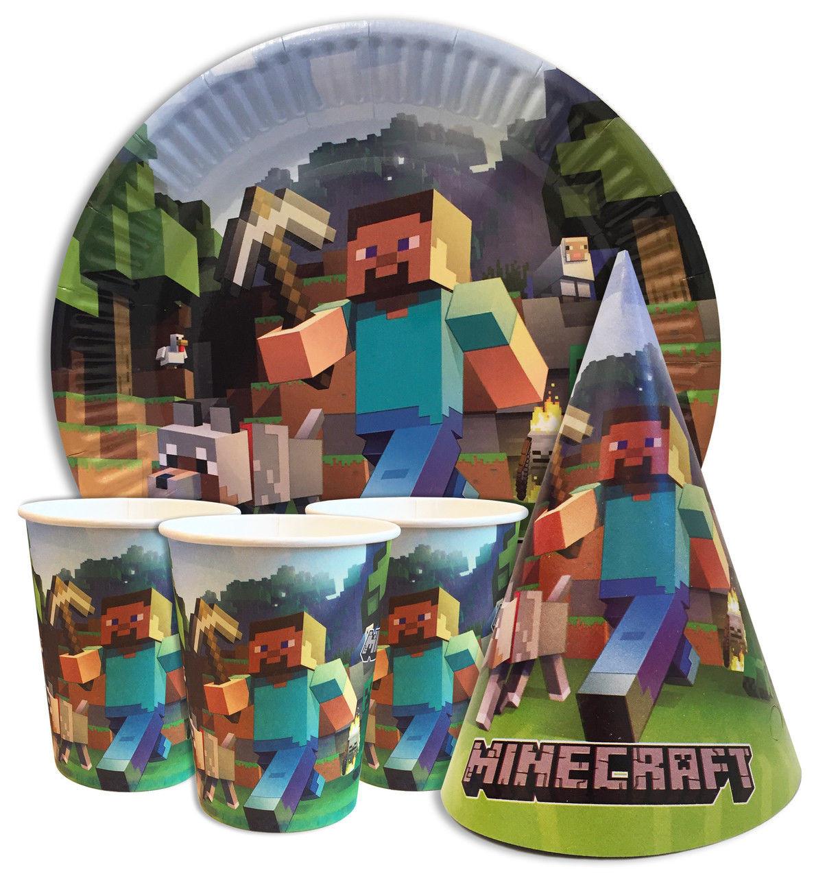 """Набор для детского дня рождения """"Майнкрафт"""". Тарелки, стаканы, колпачки по 10 шт."""