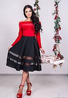 Женское бархатное платье красное с черной юбкой по колено