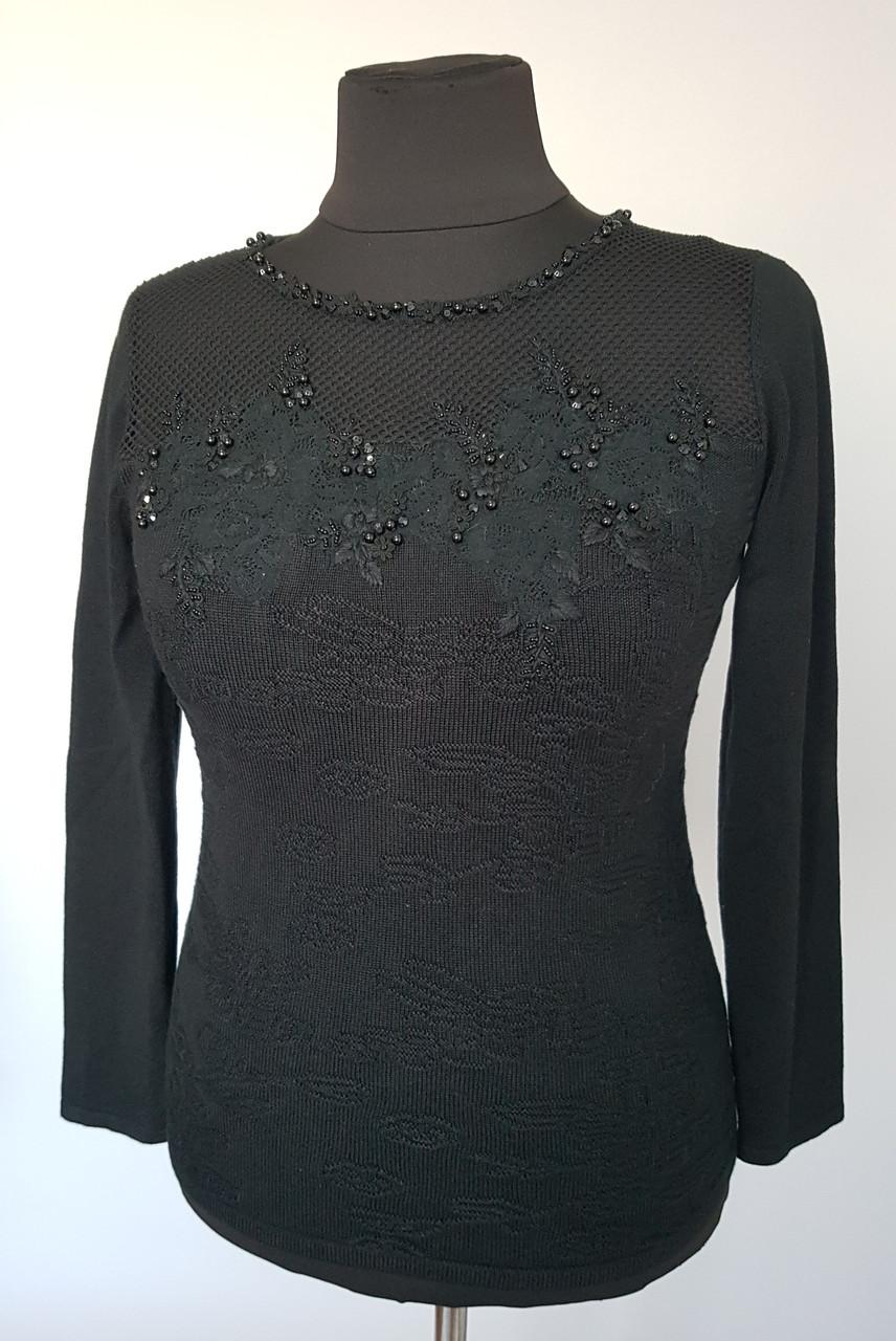 Женская кофта с сеткой на груди  черного цвета