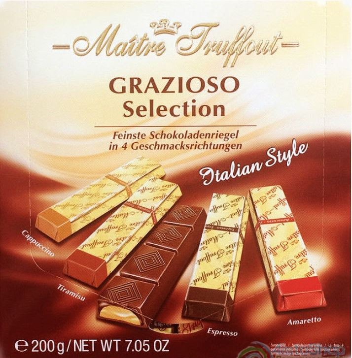Шоколад Grazioso в стиках Maitre Truffout ассорти 200g